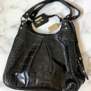 COACH No. C1082-14602 Black Leather Croc Hobo Bag